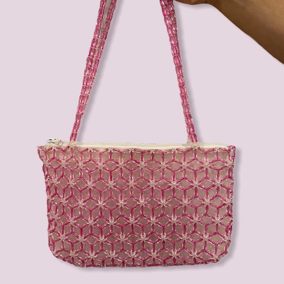 HANDMADE | VINTAGE PINK WHITE BEADED PURSE
